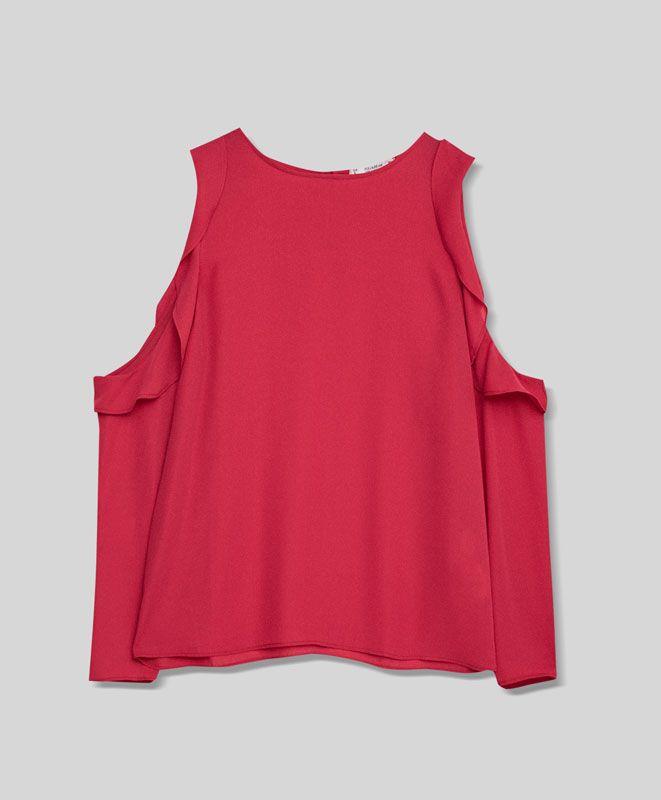 Cuerpo volante hombro al aire - Blusas y camisas - Ropa - Mujer - PULL&BEAR México