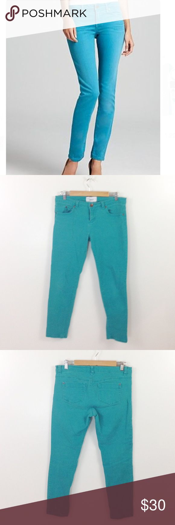 """👑NEW ARRIVAL Teal Skinny Jeans Sanctuary Pants Sanctuary Denim in a bright Teal color. Some wash wear but no other issues. Waistband 34"""". Rise 8.5"""". Inseam 27.5"""". Sanctuary Jeans Skinny"""
