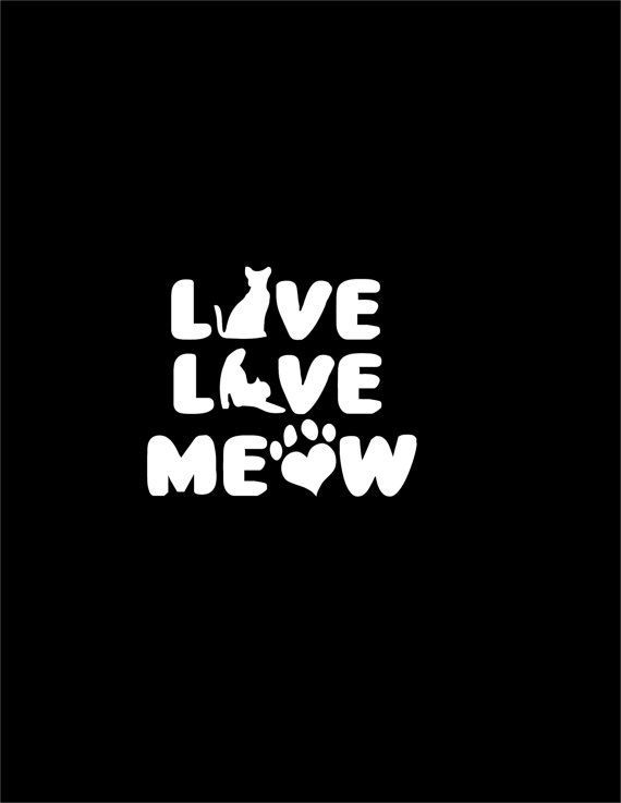 Live Love Meow Decal Car Laptop Window Cat Pet Vinyl by Overhemd ...