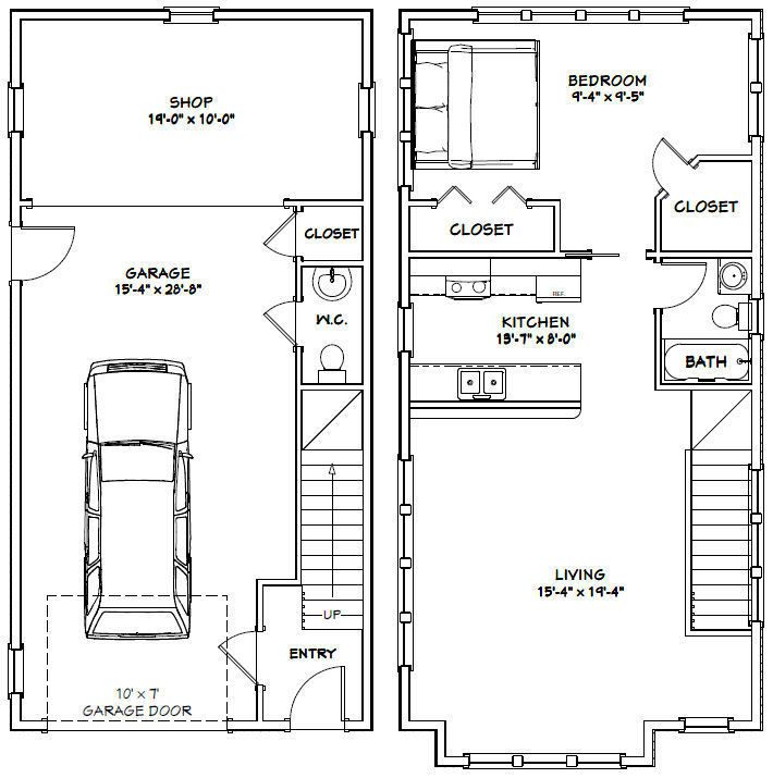 Plan W2225sl One Story Garage Apartment: Details About 24x32 House -- 1 Bedroom 1.5 Bath -- 851 Sq