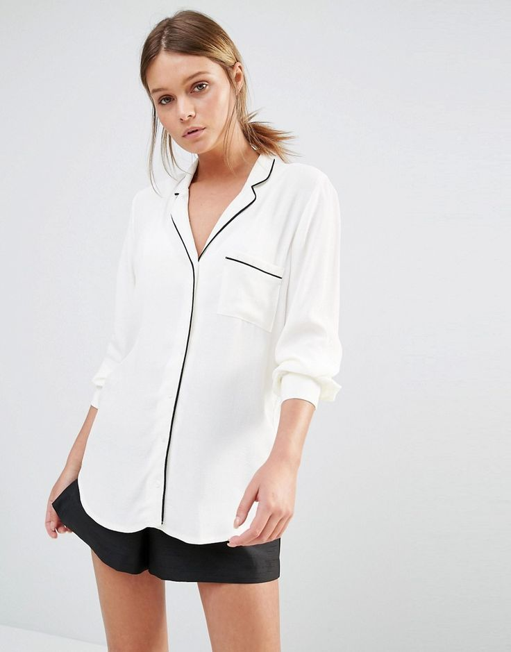 New Look - Chemise de pyjama passepoilée