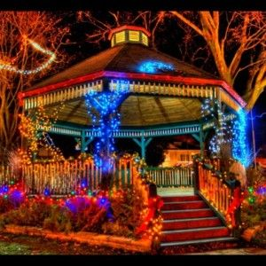 Fantastic Colorful Solar Lights Decorating Gazebo