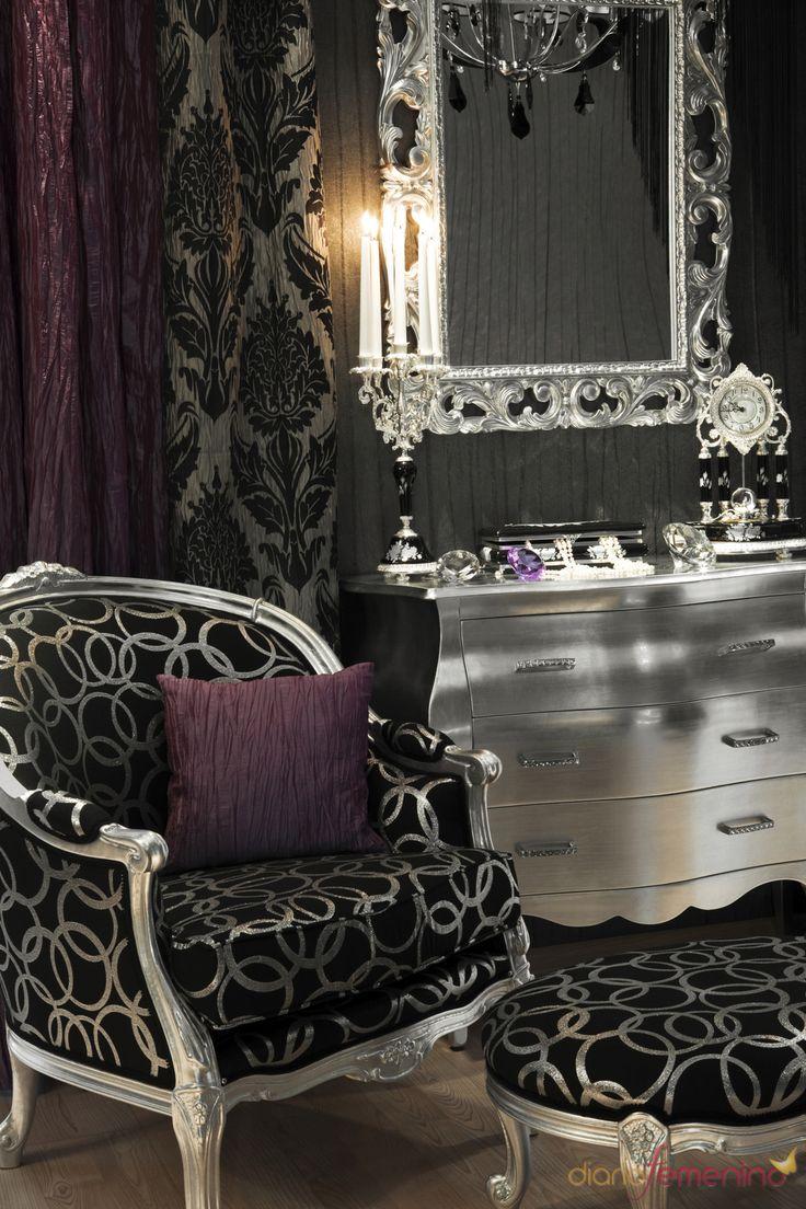 Pin baroque bed purple velvet fabric with rhinestones and black - Decoracion Vintage En Tonos Plateados Negros Y Morados