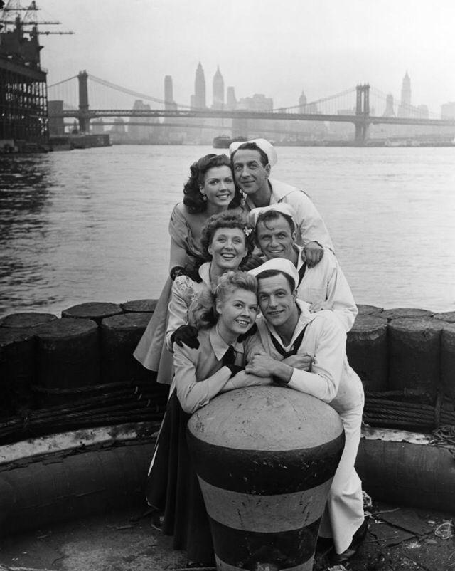 Ann Miller, Jules Munshin, Betty Garrett, Frank Sinatra, Vera-Ellen, and Gene Kelly on the set of On The Town, 1949