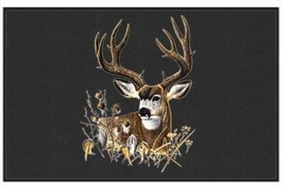 """Fall Buck - Big Game Animal - Black - Door and Welcome Mat by Express Yourself Mats. $24.88. Non-Skid Backing. Great Gift Idea!. Made in USA. Door Mat Size 27""""x18"""". Personalization Available (choose above) - EMAIL TEXT TO SELLER AFTER CHECKOUT. Enjoy the Fall Buck design heat pressed on this light-weight, low pile, woven polyester door mat. This decorative welcome mat measures 27 x 18 inches, is 1/8 inch thick and features a non-skid latex coating on the back wit..."""