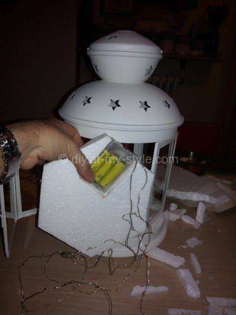 Christmas nativity in a Rotera lantern