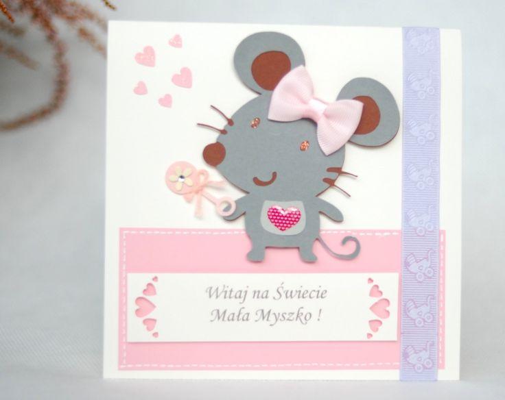 Kartka Myszka z okazji narodzin dziecka dla dziewcz - MMHandmadeHome - Srebrna Agrafka