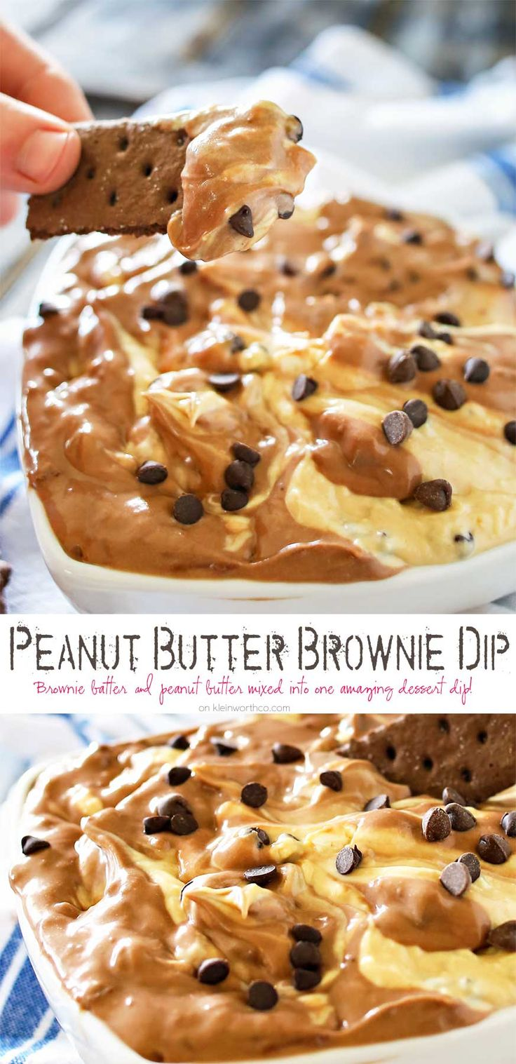 Peanut Butter Brownie Dip is a delicious dessert made of blended peanut butter & brownie batter dips & mini chocolate chips. It's heaven in a bowl.