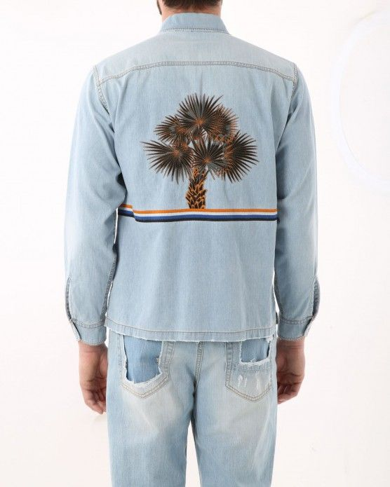 Denim shirt with embroidered palm tree Iceberg