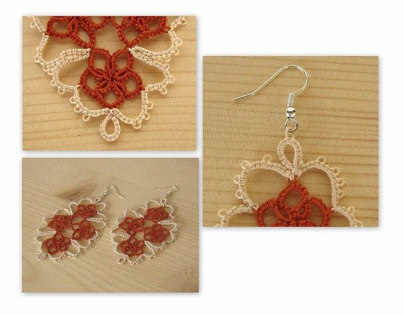 Tatting earrings, pure cotton yarn, two-color.
