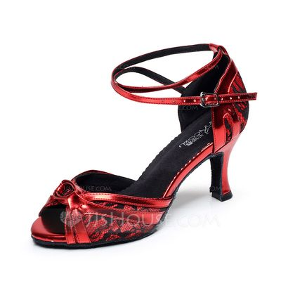 Women's Lace Heels Sandals Latin With Animal Print Dance Shoes (053068780)