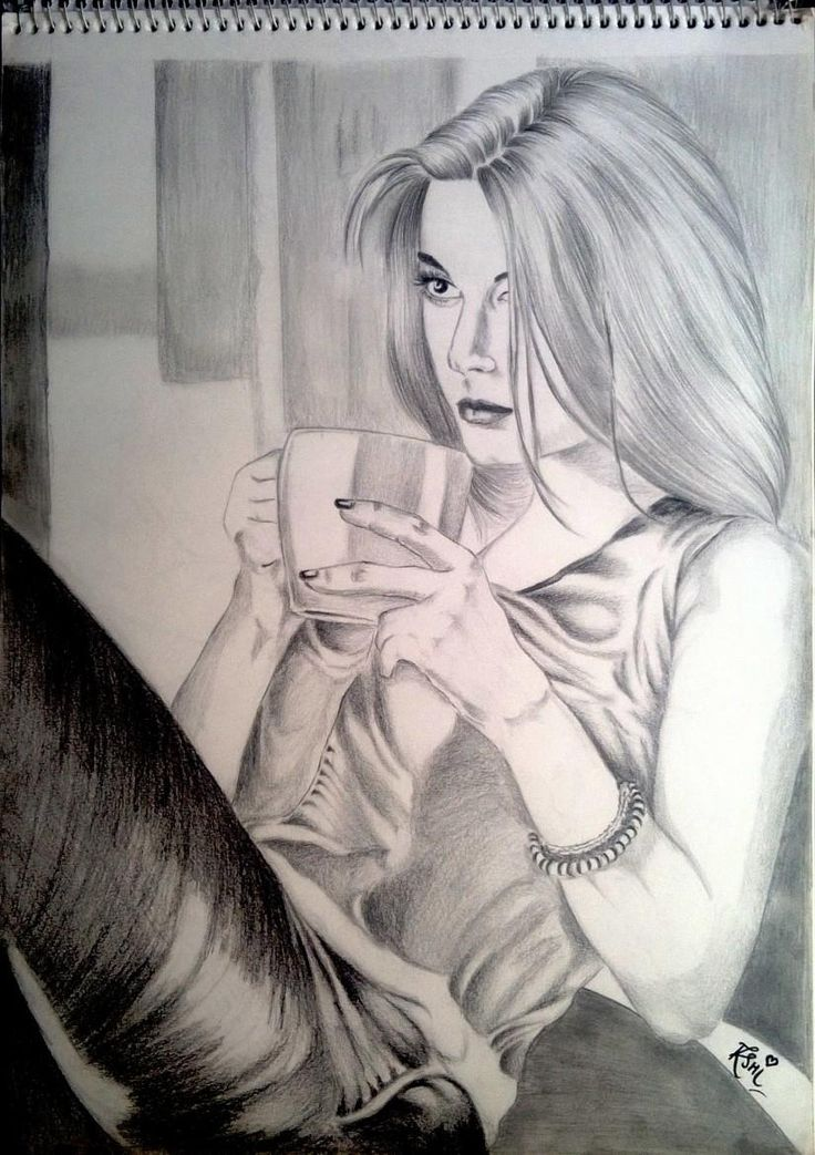 Girl with Coffee! - Sketching by rashi sagar in  SKETCHES by Me:) at touchtalent