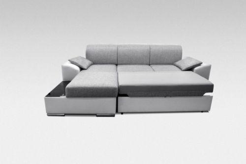 New-Big-Modern-Fabric-Leather-Corner-Sofa-Bed-MARTIN-With-Storage-Glass-Shelf