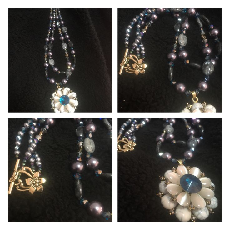2 Strand Labradorite, Glass Faceted Crystals and Smooth glass Pearls, with metal alloy toggle clasp
