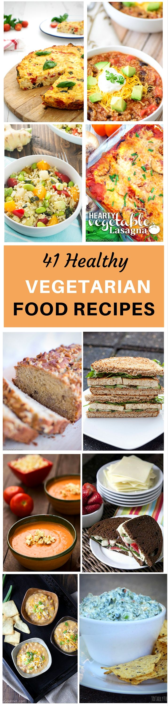 Cutting meat out of your diet and increasing the amount of fruits, vegetables, and other whole foods that you eat on a daily basis has many health benefits. Not only are you increasing the amount of vitamins and minerals that your body receives, you are flushing harmful toxins out of your system. Plan on making one or more of these 41 Healthy Vegetarian Recipes and boost your metabolism and energy level!