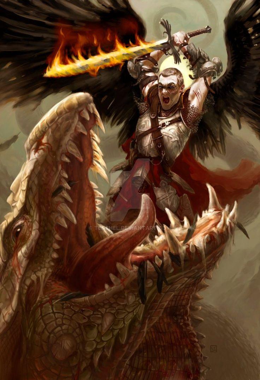 Saint-Michael slaying the Dragon by tegehel