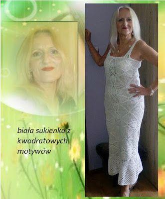 kristie'sworld: Biała sukienka z kwadratów