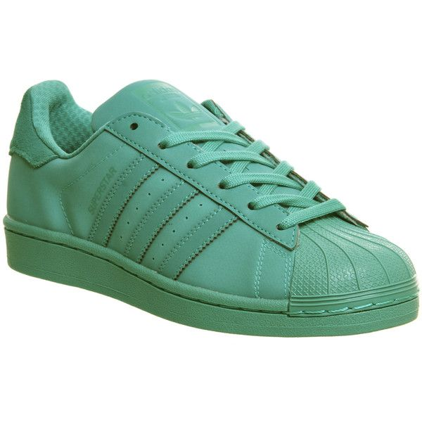 online store ec8dd 54389 Adidas Superstar X Pharrell Olive Green Adidas Superstar 1 ( 99) ❤ liked on  Polyvore featuring shoes, shock mint, f437 Cheap ...
