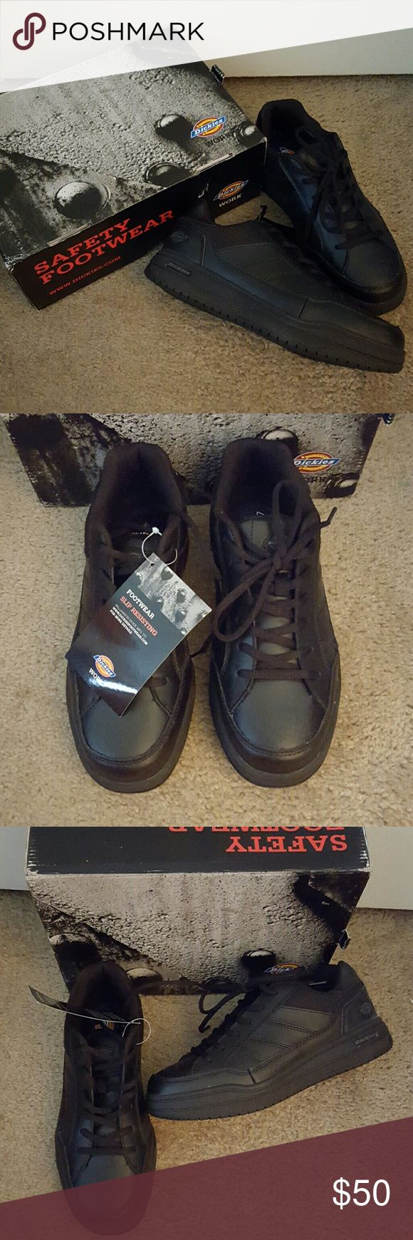 Dickies safety Footwear, oil water slip resistant Dickies ,brand new... safety Footwear they are oil water and slip resistant brand new what them in size 8 1/2 and they fit more like a 9. They have memory foam. Dickies Shoes