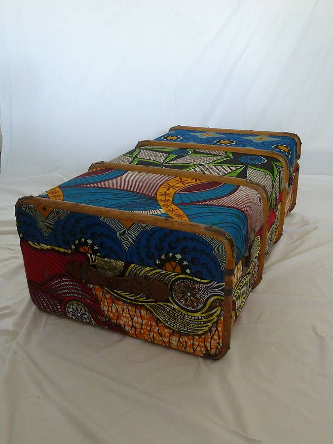 Vintage Tribal Block Printed Fabric Trunk <3
