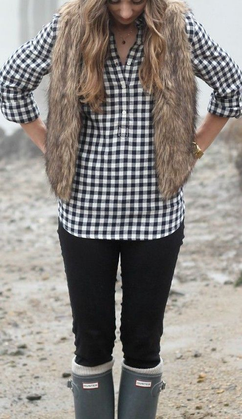 plaid. fur vest. Hunter boots.