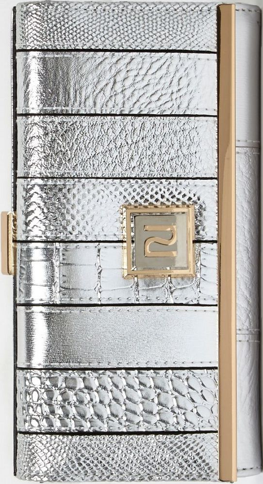 •Website: http://www.cuteandstylishbags.com/portfolio/river-island-silver-metallic-panel-clip-top-purse/ •Item: River Island Silver Metallic Panel Clip Top Purse