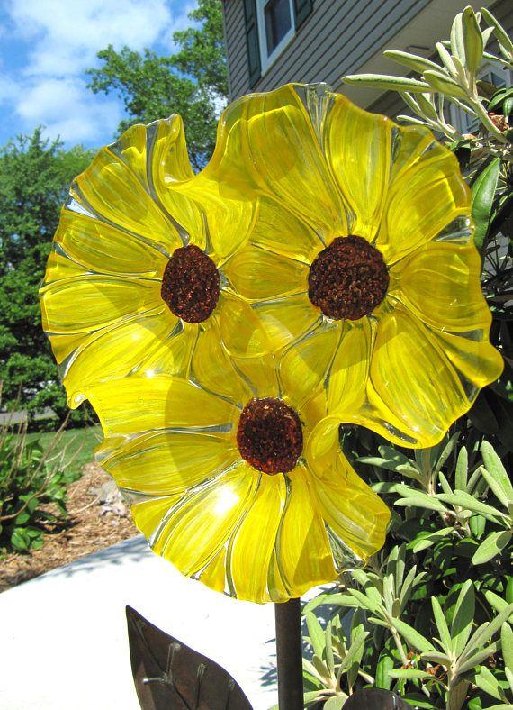 Sunflower Garden Art Glass Flower Yard Art Sun Catcher Glass