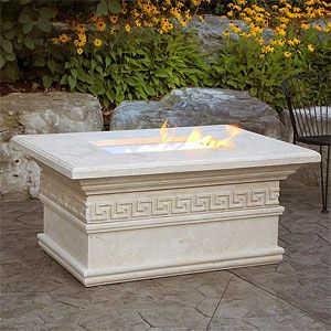 Great gathering spot for Spring nights! A fire pit table that doubles as a drink holder! http://www.mantelsdirect.com/Products-Accessories/Outdoor-Fire-Pit-Tables/Catalina-Luxury-Fire-Pit-Table-with-Keys-Trim #patio #furniture