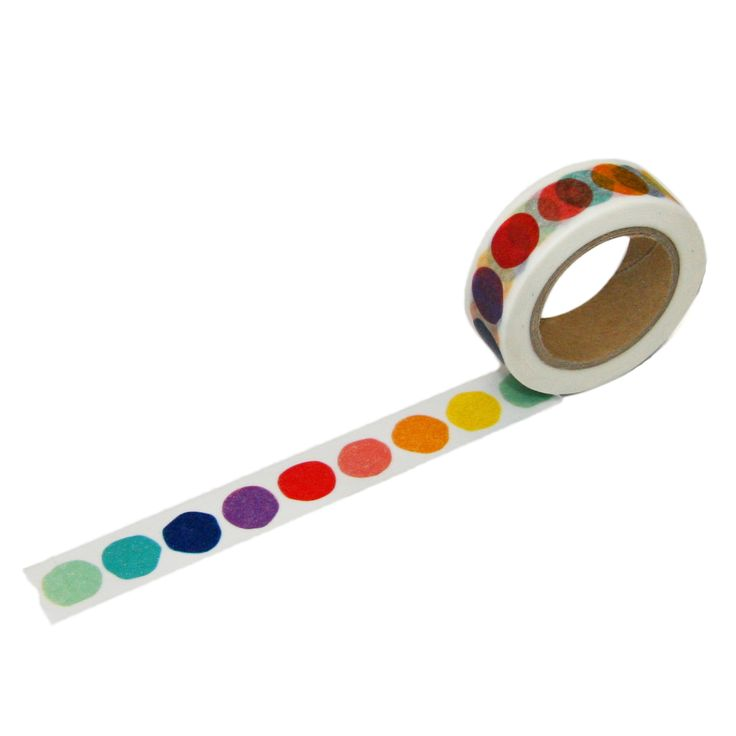 This is beve's designer's favorite washi tape - a fun rainbow dot with organic dot shapes. Perfect for sealing up packages, envelopes and many more fun projects! Cute decorative tape made from washi p