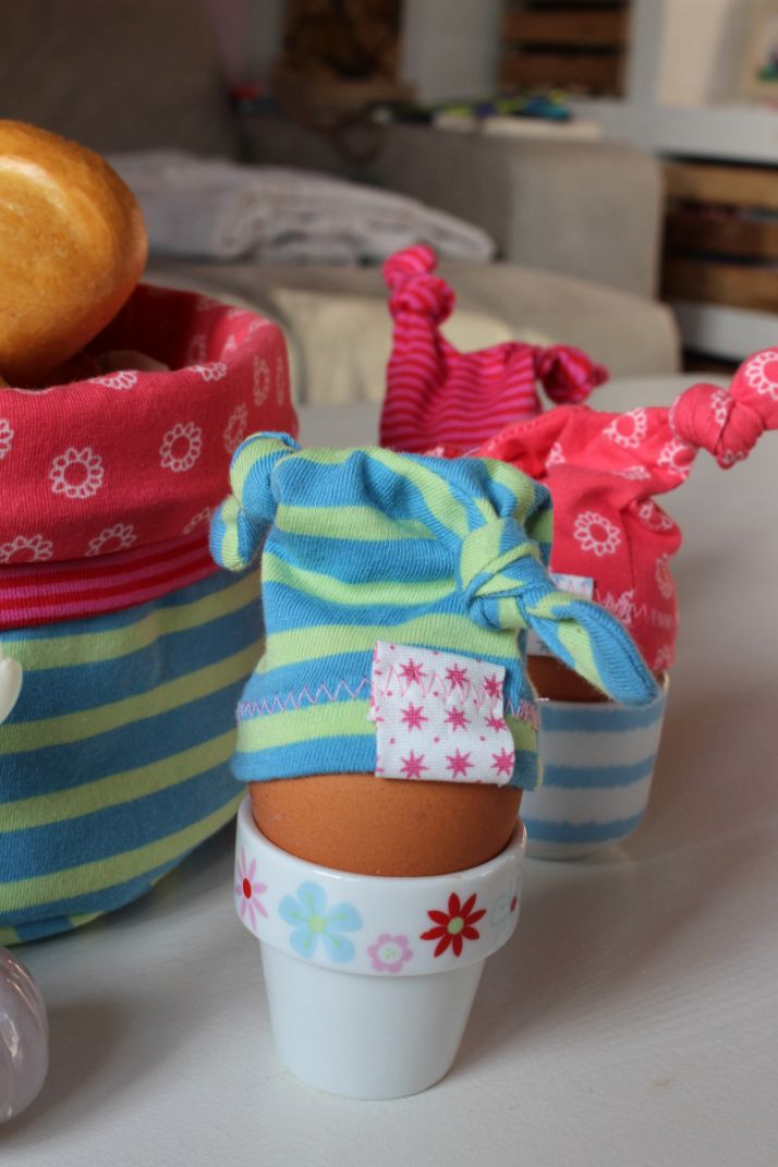 Egg caps and a basket