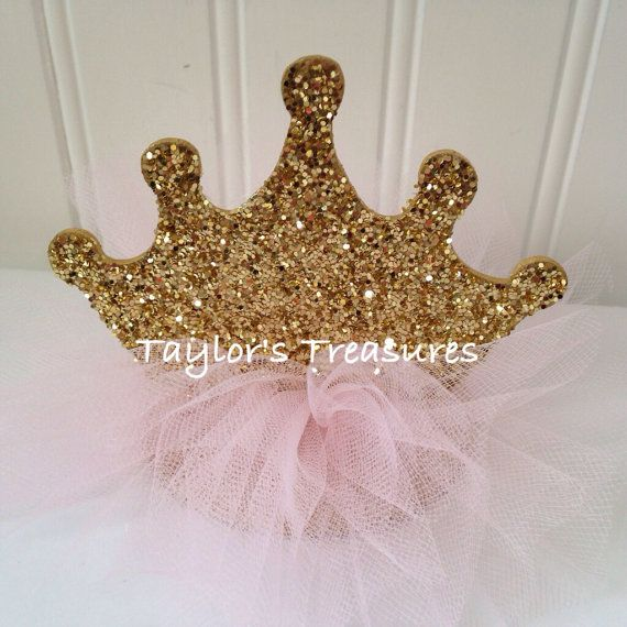 Taylors Treasures- 1st 2nd 3rd 4th Birthday Photo Prop Centerpiece, Princess Sparkle TuTu Crown Pink Gold, Baptism, Cake Topper, AnyColor on Etsy, $9.99