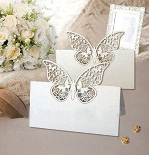 pack of 48 laser cut butterfly vine wedding table number name place card wedding party decoration favor