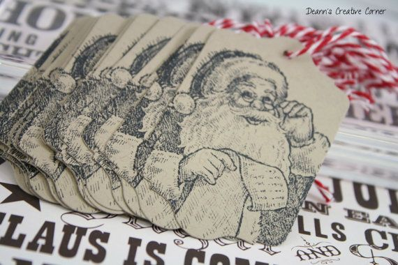 Christmas tag set of 12 handmade Stampin by DeannsCreativeCorner, $6.00
