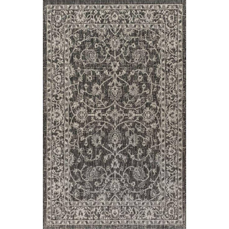 Palazzo Vine and Border Textured Weave Indoor/Outdoor Black/Gray Area Rug (5'3″ X 7'7″), JONATHAN Y