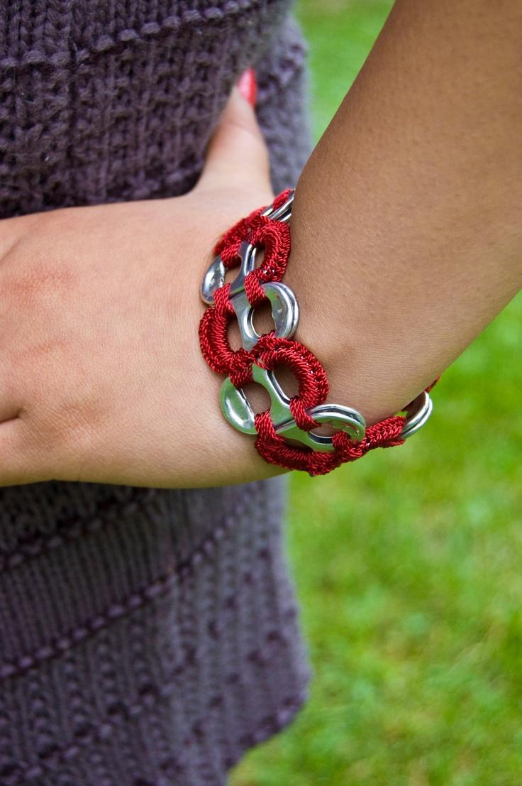 Dark Red Pop Tab Upcycled Crochet Bracelet. $3.50, via Etsy.