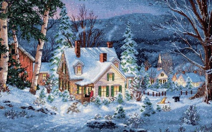 Gold Collection Winter's Hush Kit christmas counted cross stitch Dimensions $39.60
