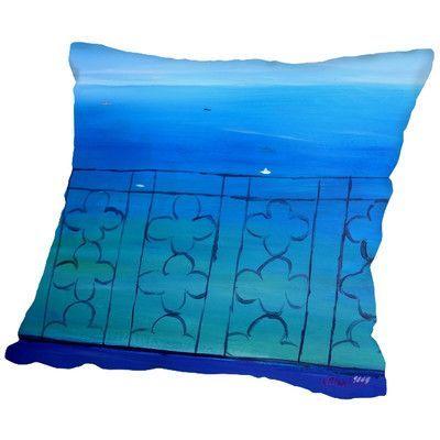 """Brayden Studio Markus Bleichner Buch Romantic Balcony in the Mediterranean Throw Pillow Size: 18"""" H x 18"""" W x 2"""" D"""