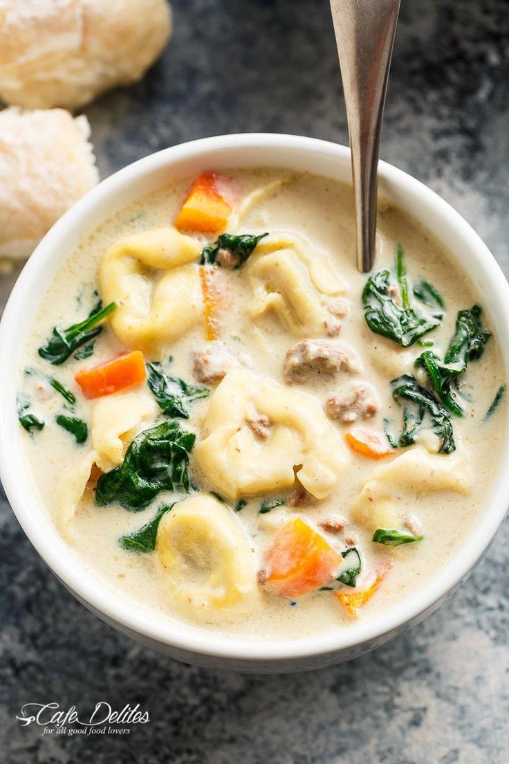Slow Cooker Creamy Tortellini Soup | http://cafedelites.com