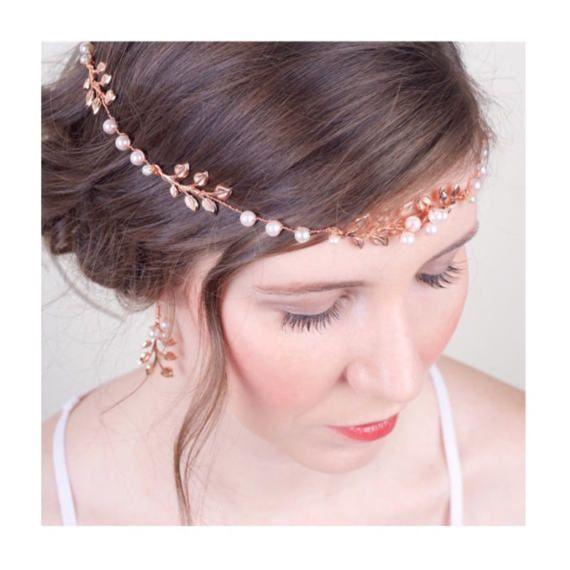Boho Bridal Rose Gold Hair Vine Pearl and Rose Gold Sash Belt