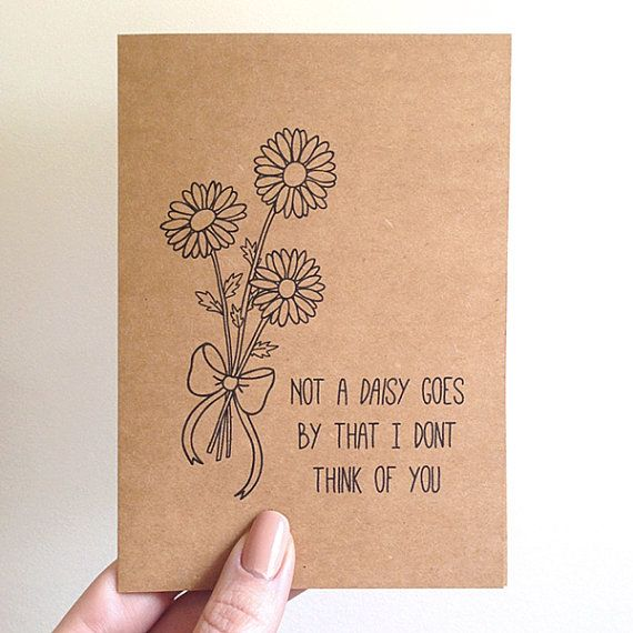"""Not a DAISY goes by that I don't think of you"" FROM: Daisy Bouquet Pun Card // Quirky Cute Funny by SubstellarStudio"