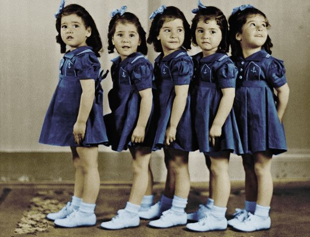 Dionne quintuplets. My great grandmother was expecting quintuplets in 1939, but was unable to access adequate medical care in the middle of rural Nebraska. Three of them didn't make it. Two were born-a boy and a girl- but Tommy passed away two months later. The only one who was left was my grandma!