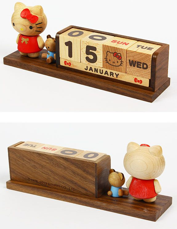 Hello kitty wooden block perpetual desk calendar sanrio for Bureau hello kitty