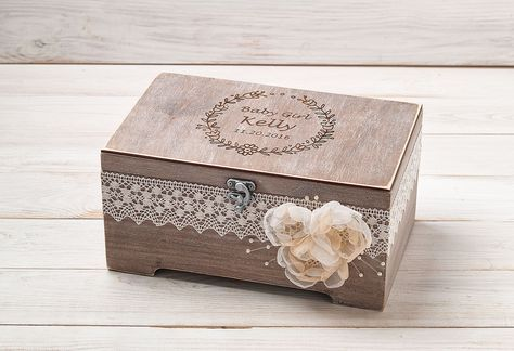 Personalized Baby Keepsake Box Memory Box Baptism Gift Baby's First Baby Shower Gift New Baby Gift Keepsake Jewellery Wood Treasure Chest by InesesWeddingGallery on Etsy #giftforbaby