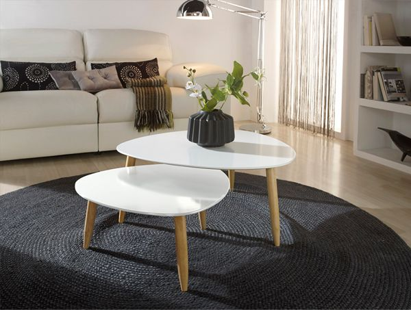 Mesas nido para centro de sal n estilo n rdico en blanco for Mesas de centro estilo nordico