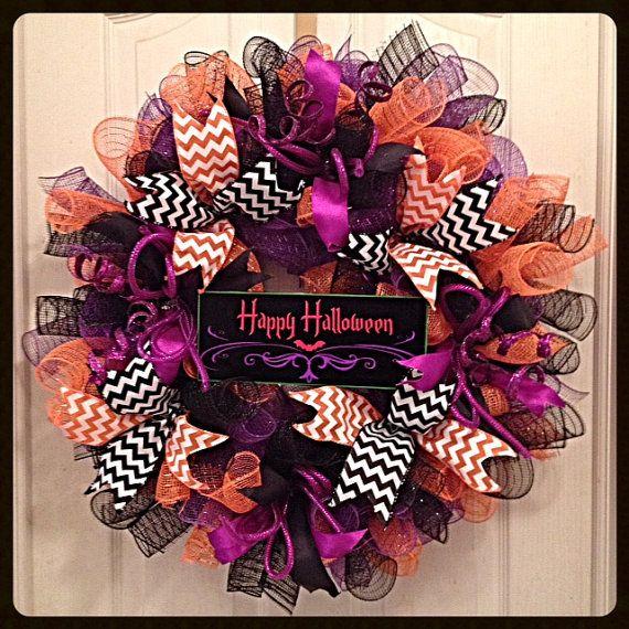 Happy Halloween Deco Mesh Wreath/Halloween by CKDazzlingDesign