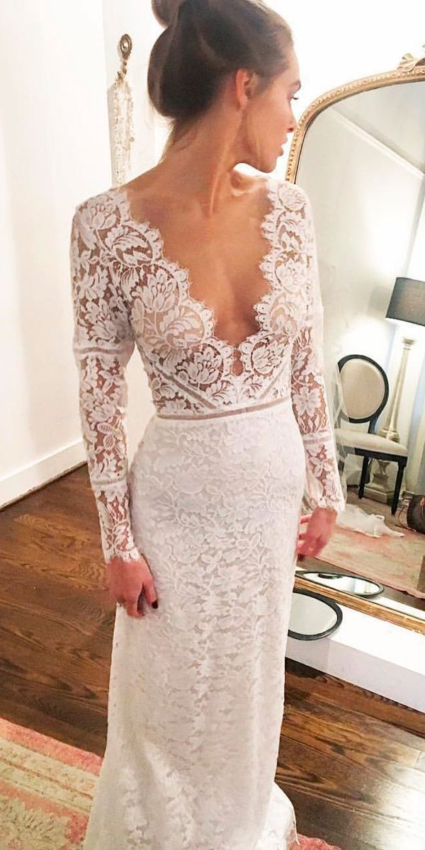 36 Lace Wedding Dresses That You Will Absolutely Love ❤ lace wedding dresses sheath deep v neckline long sleeves sarah seven ❤ See more: http://www.weddingforward.com/lace-wedding-dresses/ #weddingforward #wedding #bride