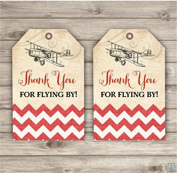 Thank You Tags Vintage Airplane Birthday Rustic Theme Party Red Modern Cute Custom Burlap Vintage Air Plane Chevron Printable Digital File