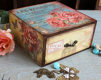 Items similar to Wooden jewelry box, Personalized box,decoupage box, shabby chic box, Paris decoration, home decoration, art box, handmade, artificially aged on Etsy