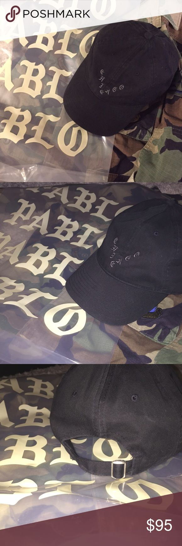 """KANYE WEST PABLO - Pop Up Shop - CHICAGO Dad Hat New! PABLO MERCH! AKA Kanye West's I FEEL LIKE PABLO tour merchandise. """"Chicago"""". Authentic. UNISEX. Never worn. Arrived with No Tags. It's more of a vintage black color with gray stitching. Adjustable back. Plastic bag not included. Dad Hat style. Pablo Merch Accessories Hats"""