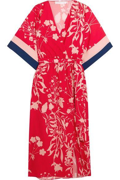 BORGO DE NOR Raquel floral-print crepe de chine midi dress. #borgodenor #cloth #dresses